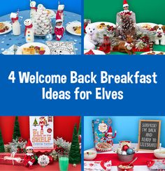 Elf on the Shelf Welcome Back Breakfasts   North Pole Breakfast   Elf Ideas Breakfasts Christmas Elf, Christmas Colors, The Elf, Elf On The Shelf, Strawberry Santas, North Pole Breakfast, Elf Pets, Pancake Party, Green Tablecloth