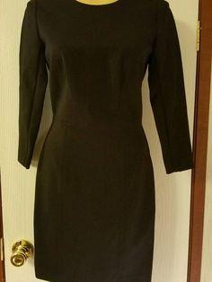 J Crew Structured Knit Zip Dress 00P B6129 Black Wear To Work Career $158 #JCrew #Shift #WeartoWork