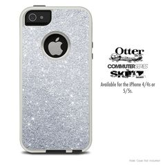 The Silver Glitter Ultra Metallic Skin For The iPhone 4-4s or 5-5s Otterbox Commuter Case on Etsy, $9.99