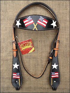 C482 HILASON WESTERN LEATHER HORSE BRIDLE HEADSTALL BLACK HAND PAINT US FLAG | Sporting Goods, Outdoor Sports, Equestrian | eBay!