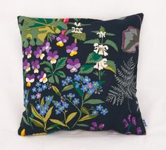 Cushion cover Rabarber, green/black - Cushion covers - Hand printed textile & interior decoration @ Jobs handtryck