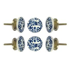 """Diameter 4.0 cm x Depth 2.0 cm x Screw Size 3.0 cm No additional hardware required. Tighten with care split Knob Details: This decorative knob measures 1.6"""" (4.0 cm) Diameter, is 0.8"""" (2.0 cm) deep and has a 1.2 inches (3.0 cm) screw attached. Our ceramic knob is ready to be used as a drawer pull or furniture knob for your home. No additional hardware required. Tighten with care Does your décor need a little pick me up? Add this white round ceramic knob with blue floral print; it is a great way Kitchen Knobs, Cupboard Knobs, Drawer Knobs, Kitchen Cupboards, Cabinets, Door Knobs, Kitchen Reno, Kitchen Ideas, Kitchen Island"""
