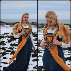 Hand sewn viking garb by Sól Geirsdóttir Photos taken at Vulcanic landscapes, Iceland. at IG Viking Cosplay, Viking Garb, Viking Reenactment, Viking Dress, Viking Warrior, Medieval Dress, Viking Ship, Viking Queen, Viking Woman