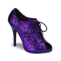 Pleaser Bordello - Purple Glitter - 4 Inch Heel, Inch Concealed Platform, Glitter Peep Toe Oxford Lace up Bootie in Mid-Platform High Heels Glitter Heels, Purple Glitter, Stiletto Heels, Glitter Girl, Glitter Stars, Sexy Heels, Oxfords, Purple High Heels, Cinderella