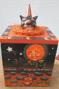 Hand Painted Mixed Media Halloween Box Vintage by Creativelyjuiced Old Boxes, Broken China, Vintage Cat, Air Dry Clay, Painting Edges, Covered Boxes, Shades Of Black, All Art, Witches