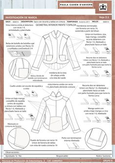 Análisis de sastrería y propuesta de molderia – Asistencia en Entregas Tech Pack, Technical Drawing, Sewing Techniques, Drawings, Fashion Design, Color, Diy, Journaling, Dibujo