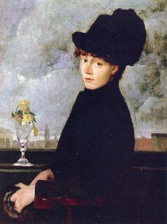 J. Alden Weir (American 1852–1919) [Impressionism, The Ten] Against the Window, 1884. The Athenaeum