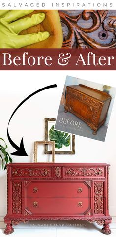 Before and After | WET Distressing your painted furniture | SAlvaged Inspirations #siblog #salvagedinspirations #paintedfurniture #furniturepainting #DIYfurniture #furniturepaintingtutorials #howto #furnitureartist #furnitureflip #salvagedfurniture #furnituremakeover #beforeandafterfurnuture #paintedvintagefurniture #roadsiderescues #chalkpaint #chalkpaintedfurniture #diyprojects #diyfurnituremakeover #furniturerestoration #furnitureideas