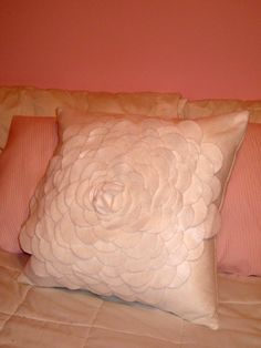 White felt pillow, just cut out petals and use hot glue!