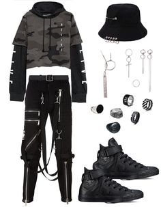 ✔ Anime Outfits Casual Real Source by Outfits korean Grunge Outfits, Outfits Casual, Punk Outfits, Kpop Fashion Outfits, Stage Outfits, Korean Outfits, Anime Outfits, Polyvore Outfits, Kpop Mode