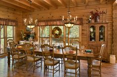 Interior, horizontal, dining room, Daniel residence, Moss, Tennessee; Honest Abe Log Homes