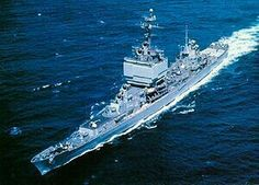 """USS """"Long Beach"""" (CLGN-160/CGN-160/CGN-9) was a nuclear-powered guided missile cruiser in the United States Navy. She was the only ship of her class.  In  1970s"""