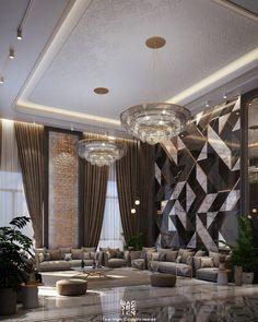 Ceiling Design Living Room, Wall Decor Design, Home Room Design, Interior Design Living Room, Living Room Designs, Interior Decorating, House Design, Luxury Homes Interior, Interior Architecture