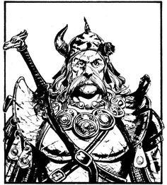 Experienced warrior. (Larry Elmore, D&D Expert Rulebook, TSR, 1983.)