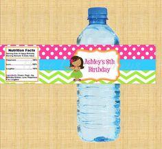 Luau Water Bottle Labels DIY Printables by Threelilmonkeys84, $5.00