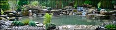 A beautiful moss rock water garden pond designed and installed by Full Service Aquatics of Summit, NJ 07901. This pond features some huge boulders along the edge to invite viewers to stay a while and enjoy.