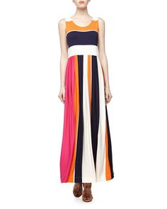 Colorblock Striped Jersey Maxi Dress, Navy/Orange/Cream/Pink by Neiman Marcus at Neiman Marcus Last Call.
