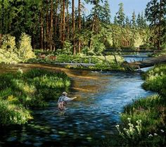 """""""Morning on the Metolius- with Flyfisherman"""" -Angling and Flyfishing Art by Dan Rickards"""