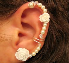 "Non Pierced Ear Cuff  ""Forever Beautiful"" Cartilage Conch Cuff Silver tone Wedding Bridal Prom Quinceanera. $13.00, via Etsy."