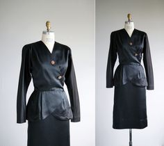 40s suit / 1940s satin skirt and jacket / Double Indemnity suit. $92.00, via Etsy.