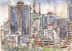 Urban Sketchers: some sketches of different buildings on the street, Seoul