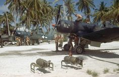 Fantastic photo showing VMF-111 Corsairs on Majuro Atoll (Central Pacific) - USMC