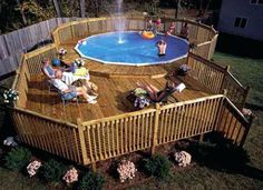 Above ground pool deck plans are needed by creative home owners who want extraordinary swimming pool on their backyard. Unlike ordinary swimming pool, Above Ground Pool Landscaping, Above Ground Pool Decks, Above Ground Swimming Pools, In Ground Pools, Deck Landscaping, Piscina Intex, Oberirdische Pools, Cool Pools, Awesome Pools