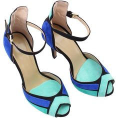 LUCLUC Blue High Heeled Peep Toe Sandals ($72) ❤ liked on Polyvore featuring shoes, sandals, sapatos, heels, high heels, lucluc, peep toe heel sandals, peep-toe shoes, peep toe shoes and peeptoe shoes