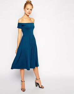 Pin for Later: 50 Reasons to Embrace Spring's Off-the-Shoulder Trend ASOS Bardot Midi Skater Dress ASOS Bardot Midi Skater Dress (£22)