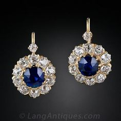 """Antique Diamond and Sapphire Earrings"" I really like the setting, but I'm not thrilled about the backs. On something like this I would rather have a regular drop earring back. Also, these are very big. A little too big for me I think. Not exactly what I'm looking for maybe, but pretty darn close! :)"