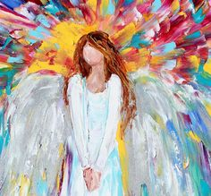 "Original oil painting Angel Watching Over Me by artist Karen Tarlton. Painted on gallery wrapped canvas in impasto oil technique with palette knife. Title: Angel Watching Over Me  Original oil painting by Karen Tarlton Size: 12""x 24 Painting varnished for protection and enhancement Hand-Signed Certificate of Authenticity included Sides painted and ready to hang unframed. These brand new oil has unique impasto texture and beautiful, glowing color, comprised of multiple layers of rich oil…"