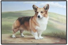 """CORGI / PATH DOORMAT Art by Barrie Barnett by Fiddler's Elbow. $17.49. polypropylene web trim. 27"""" x 18"""" indoor/outdoor Mats. fade resistant. non-skid rubber backing. hand wash, hose off and air dry. This one Corgi is looking for some one to play with. This will make a great gift for the corgi lover and dog lover inside us all."""