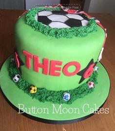 A Football themed piñata cake Football Themed Cakes, Button Moon, Pinata Cake, Cakes For Men, Moon Cake, 18th, Birthday Cake, Desserts, Food