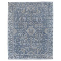 Lubois French Country Antique Blue Wool Rug - 9x12