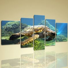 "Large Wall Art Hd Print On Canvas Sea Turtle Bedroom Decorative Mural Abstract, Extra Large Abstract Wall Art, Living Room, Grey-Asparagus. Large Wall Art Hd Print On Canvas Sea Turtle Bedroom Decorative Mural Abstract Subject : Abstract Style : Photography Panels : 5 Detail Size : 12""x40""x1,12""x32""x2,16""x24""x2 Overall Size : 72""x40"" = 183cm x 102cm Medium : Giclee Print On Canvas Condition : Brand New Frames : Gallery wrapped [FEATURES] Lightweight and easy to hang. High revolution…"