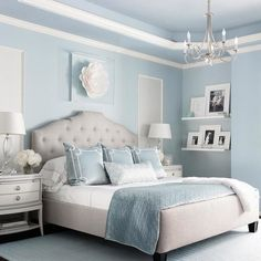 "Benjamin moore brittany blue bedroom via marker girl home. ""mom retreat a relaxing master bedroom in soft blue grey and white color palette. Relaxing Master Bedroom, Blue Master Bedroom, Blue Bedroom Decor, Bedroom Green, Home Bedroom, Bedroom Ideas, Bedroom With Blue Walls, Girls Bedroom Blue, Blue And Cream Bedroom"
