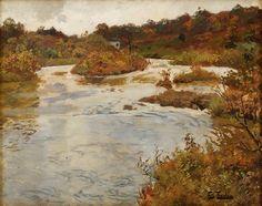 Frits Thaulow 1847-1906: Elvelandskap fra Quimperlé, Olje på lerret
