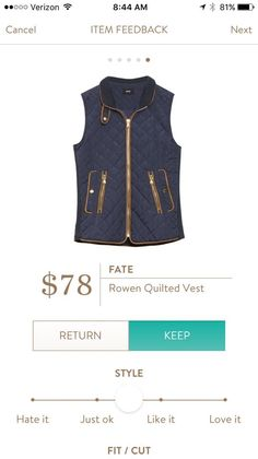 Fate Rowen Quilted Vest. I love Stitch Fix! A personalized styling service and it's amazing!! Simply fill out a style profile with sizing and preferences. Then your very own stylist selects 5 pieces to send to you to try out at home. Keep what you love and return what you don't. Only a $20 fee which is also applied to anything you keep. Plus, if you keep all 5 pieces you get 25% off! Free shipping both ways. Schedule your first fix using the link below! #stitchfix @stitchfix. Stitchfix…