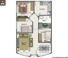 Casa 3 Quartos - 63.3m²