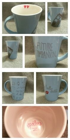 "I made DIY Doctor Who Sharpie Mugs - ""Future Companion"" & ""hello sweetie"" - gift for a friend"