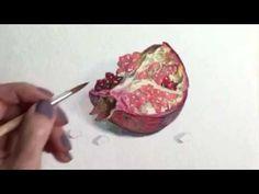 Как нарисовать гранат акварелью - YouTube