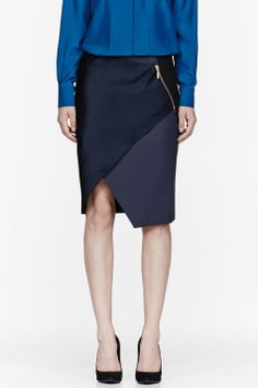 Cedric CHARLIER | Blue Wool Asymmetric-Paneled Skirt