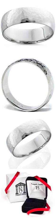 Bands without Stones 92852: Mens 7Mm 14K White Gold Polished Hammered Wedding Ring Band -> BUY IT NOW ONLY: $499 on eBay!