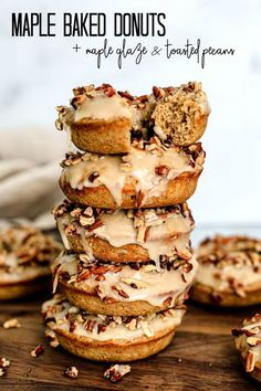 These maple baked donuts are smothered in a lip-smacking maple glaze, then topped with toasted pecans. Maple Donuts, Maple Cookies, Apple Cider Donuts, Bakery Recipes, Brunch Recipes, Fall Recipes, Dessert Recipes, Desserts, Thyme Recipes