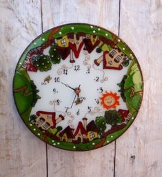 Village wall clock Painted Glass Wall Decor Houses Glass Art Boho decoration Vintage style Birthday present Home decor Personalize gift Wall Clock Painting, Vintage Style, Vintage Fashion, Personalized Gifts, Handmade Gifts, Birthday Presents, Boho Decor, Glass Art, Wall Decor
