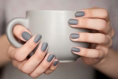 A manicure is a cosmetic elegance therapy for the finger nails and hands. A manicure could deal with just the hands, just the nails, or Grey Matte Nails, Grey Nail Polish, Nail Polish Hacks, Nail Tips, Nail Hacks, Essie Polish, Nail Polishes, Mat Nail Polish, Gray Nail Art