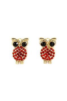 Red Poppy Crystal Owl Earrings.