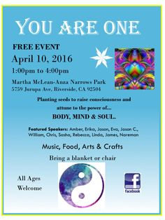 Free Event!!!!   Riverside, CA #YouAreOneEvent