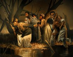 Harriet Tubman's Underground Railroad by Paul Collins. Iconic fine art depicting Harriet Tubman helping slaves en route to freedom. Black History Facts, Black History Month, African History, African Art, African Prints, Harriet Tubman Underground Railroad, Art Black Love, Black Art Pictures, Frederick Douglass