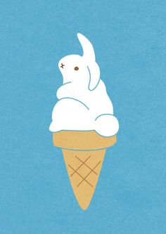 , kawaii digi art illustration print This is really good use of contrasting line thickness to make the piece look one way or another. Art And Illustration, Illustration Mignonne, London Illustration, Ice Cream Illustration, Rabbit Illustration, Toys Drawing, Kawaii, Kawai Japan, Bunny Art